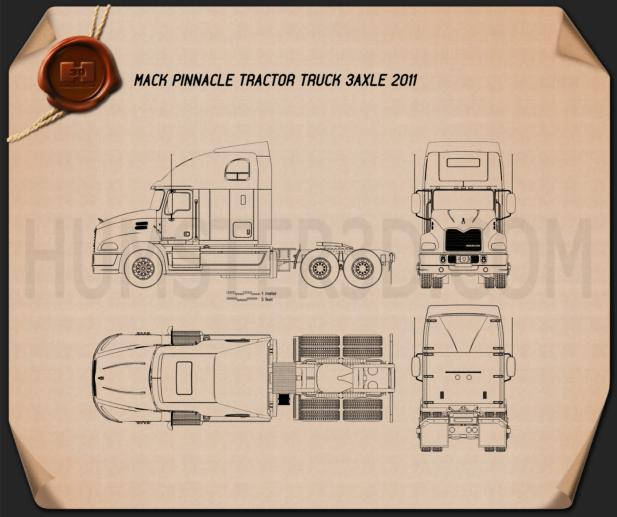 Mack Pinnacle Tractor Truck 2011 Blueprint