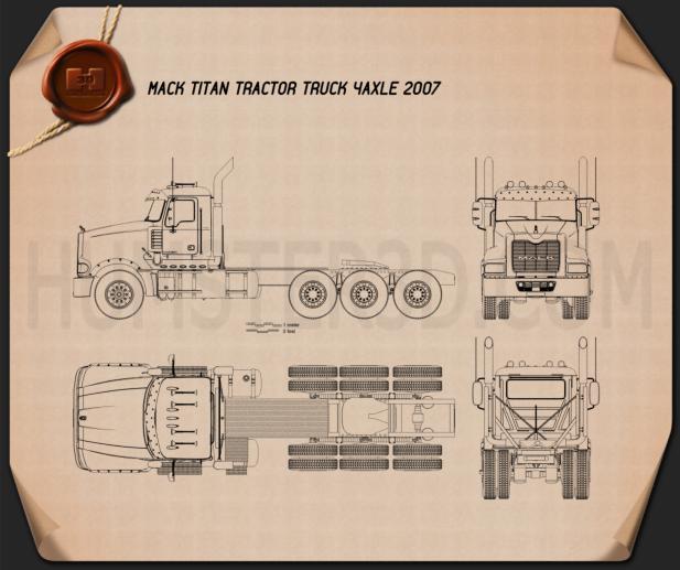 Mack Titan Tractor Truck 4axle 2007 Blueprint