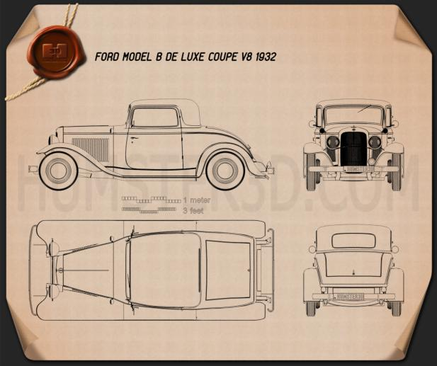 Blueprint Of Ford Model B De Luxe Coupe V8 1932 on Furniture Made From Cars And Trucks