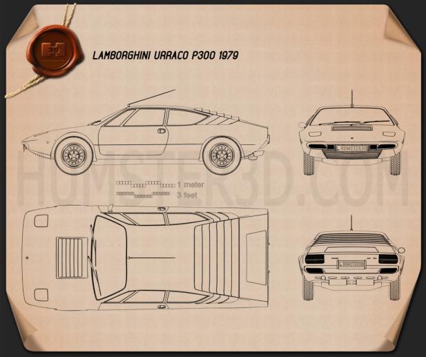 Lamborghini Urraco P300 1979 Blueprint