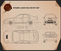Mitsubishi Lancer Evolution 1997 Blueprint