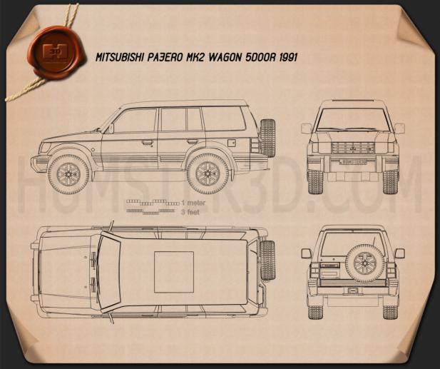 Mitsubishi Pajero (Montero) Wagon 1991 Blueprint