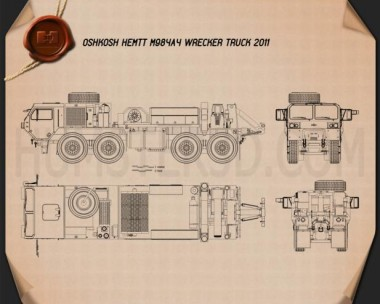 Oshkosh HEMTT M984A4 Wrecker Truck 2011 Blueprint