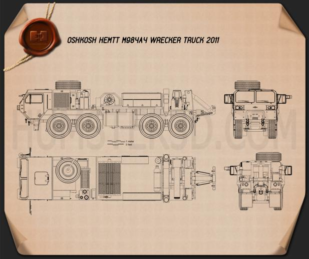 Oshkosh HEMTT M984A4 Wrecker Truck 2011 Blueprint