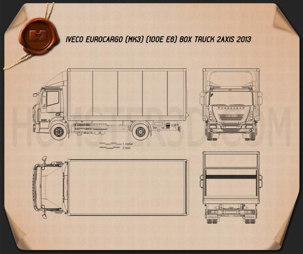 Iveco EuroCargo Box Truck 2013 Blueprint 3d model