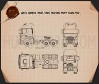 Iveco Stralis Tractor Truck 2012 Blueprint
