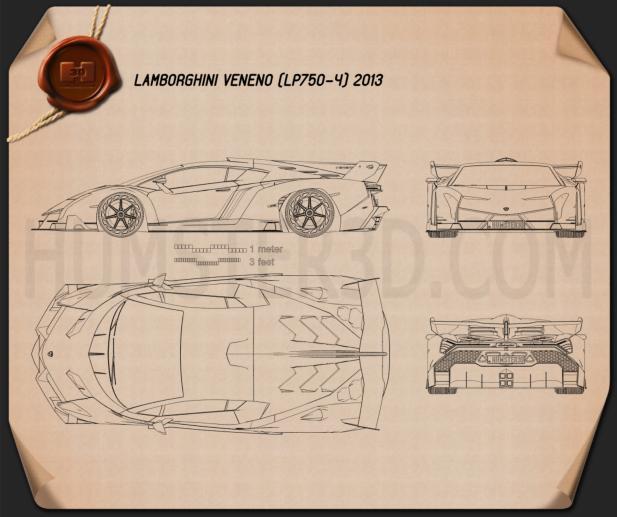 Lamborghini Veneno 2013 Blueprint - Hum3D