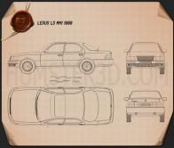 Lexus LS (XF10) 1989 Blueprint