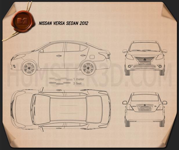 Nissan Versa (Tiida) sedan 2012 Blueprint