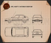 Opel Kadett E Hatchback 5-door 1991 Blueprint