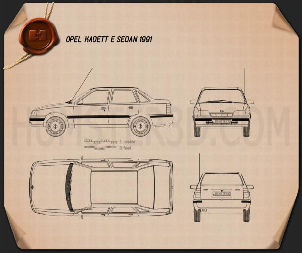 Opel Kadett E Sedan 1991 Blueprint