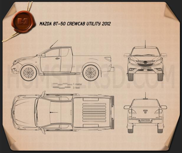 Mazda BT-50 Crew Cab 2012 Blueprint