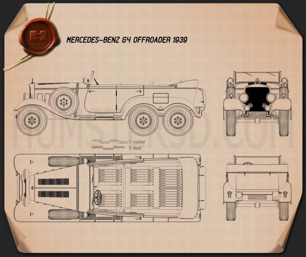 Mercedes-Benz G4 Offroader 1939 Blueprint