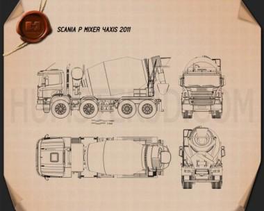 Scania P Mixer 2011 Blueprint