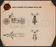 Harley-Davidson FXSTS Springer Softail 1988 Blueprint