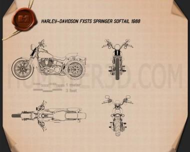 Harley-Davidson FXSTS Springer Softail 1988 Blueprint
