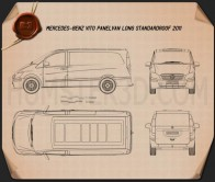 Mercedes-Benz Vito W639 Panel Van Long 2011 Blueprint