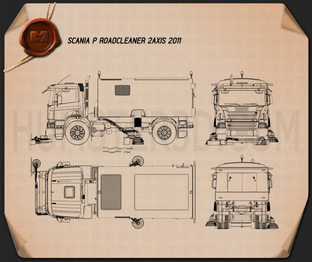 Scania P Road Cleaner 2011 Blueprint