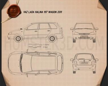 Lada Kalina (1117) wagon 2011 Blueprint