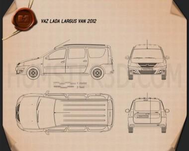 Lada Largus Van 2012 Blueprint