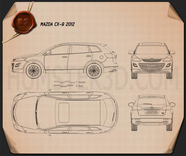 Mazda CX-9 2012 Blueprint 3d model