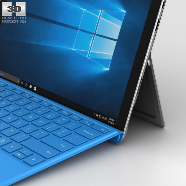 microsoft surface pro 4 bright blue 3d model