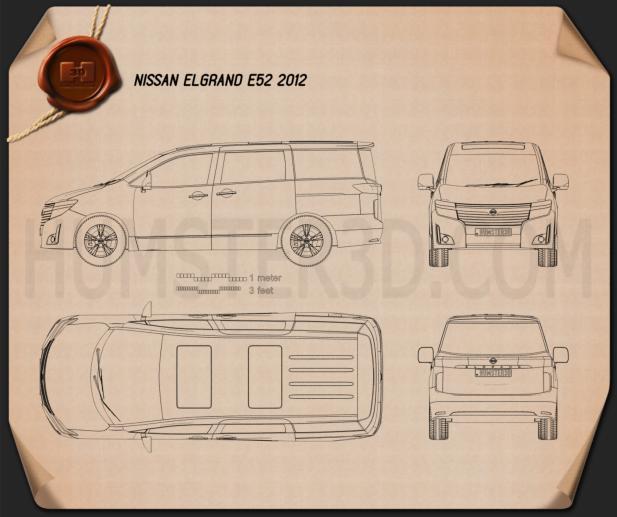 Nissan Elgrand (E52) 2012 Blueprint