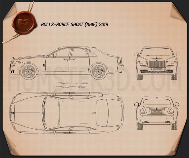 Rolls-Royce Ghost 2014 Blueprint