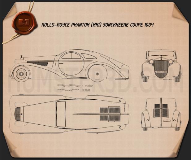 Rolls-Royce Phantom Jonckheere Coupe 1934 Blueprint