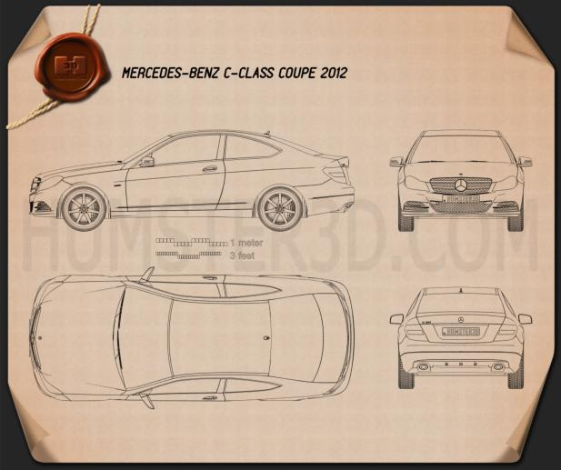 Mercedes-Benz C-class coupe 2012 Blueprint