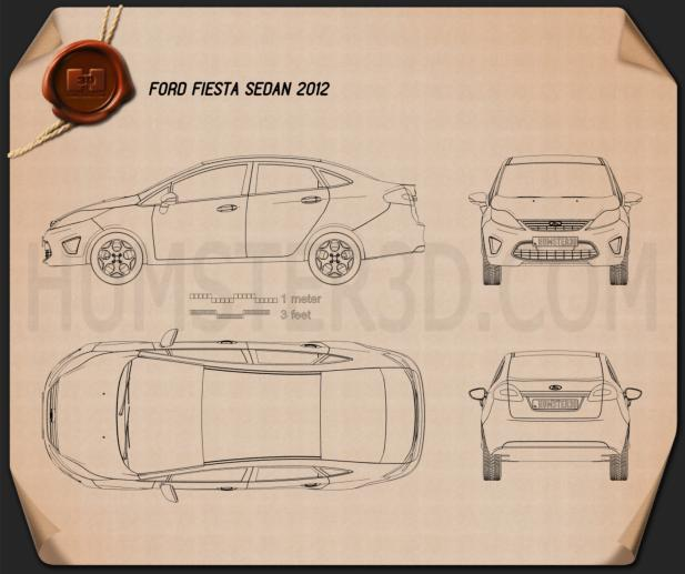 Ford Fiesta Sedan (US) 2012 Blueprint