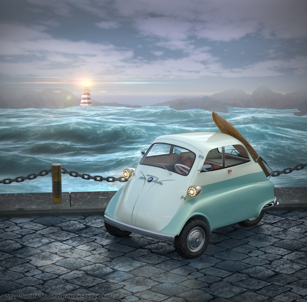 Surf with BMW Isetta 300 3d art