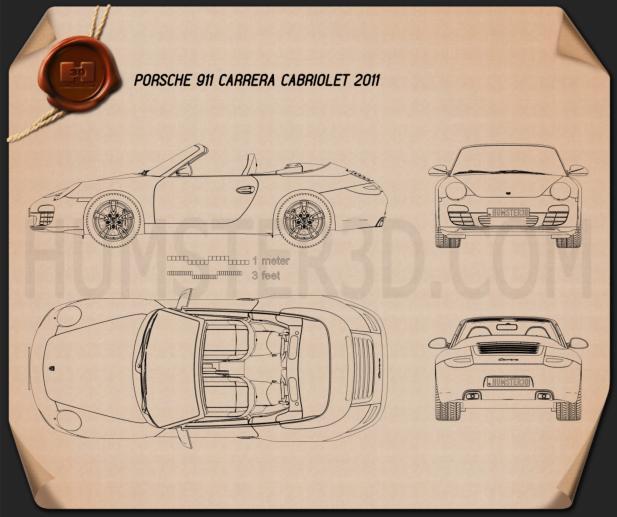 Porsche 911 Carrera Cabriolet 2011 Blueprint