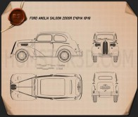 Ford Anglia E494A 2-door Saloon 1949 Blueprint