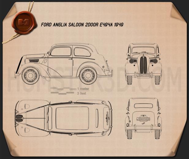 Ford Anglia E494A 2-door Saloon 1949 Blueprint