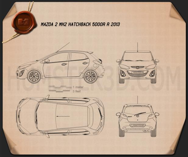 Mazda 2 (Demio) 5-door R 2013 Blueprint
