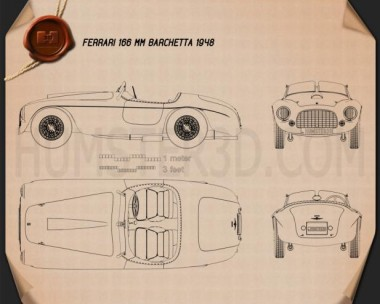 Ferrari 166 MM Barchetta 1948 Blueprint