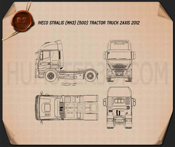Iveco Stralis (500) Tractor Truck 2012 Blueprint