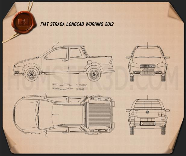 Fiat Strada Long Cab Working 2012 Blueprint