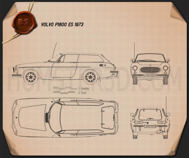 Volvo P1800 ES 1973 Blueprint