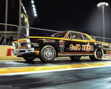 "Summer night dragstrip with ""the Tiger"" in action"