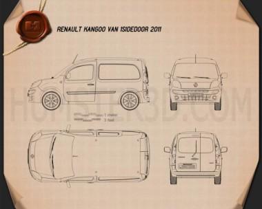 Renault Kangoo Van 1 Side Door 2011 Blueprint