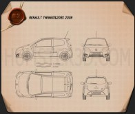 Renault Twingo RS 2008 Blueprint