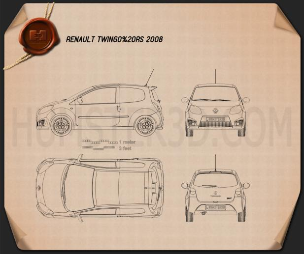 Renault Twingo RS 2008 Blueprint