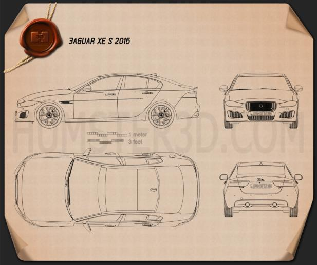 Jaguar xe s 2015 blueprint hum3d jaguar xe s 2015 blueprint malvernweather Gallery