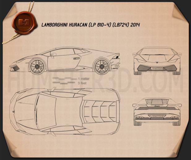 Lamborghini Huracan 2015 Blueprint