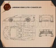 Lamborghini Veneno Roadster 2014 Blueprint