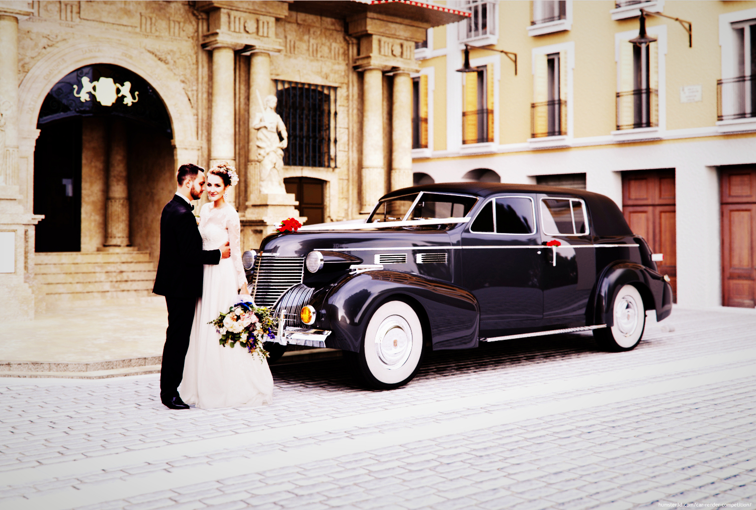 A classic wedding car 3d art