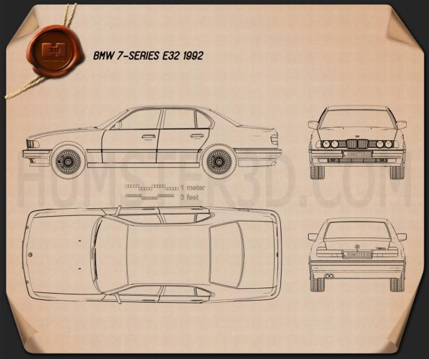 BMW 7 Series (E32) 1992 Blueprint