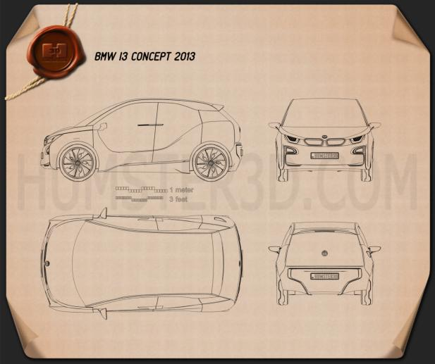 BMW i3 concept 2012 Blueprint